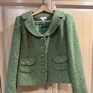 Ann Taylor LOFT Green Tweed Jacket Size 12